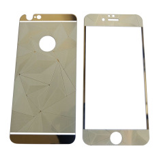 QC Tempered Glass 2in1 3D  iPhone 6/ Iphone6/ iPhone 6G/ Iphone 6S Ukuran 4.7 Inch Diamond Mirror Screen Protection / Anti Gores Kaca / Screen Protector / Screen Guard / Temper - Silver