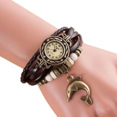 Harga Quartz Menenun Kulit Dolphin Gelang Wanita Lady Wrist Watch Brown New