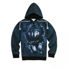 Queen Wolf Men's Sports Hooded Hoodies Mantel (Hitam)