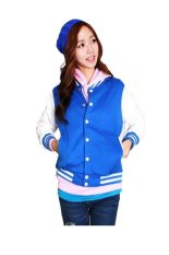 Toko Jual Quincylabel Women Winter Varsity Jacket Biru