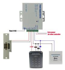 RFID Touch Keypad Door Access Control System Kit Set +Strike Door Lock +Power +Exit Button
