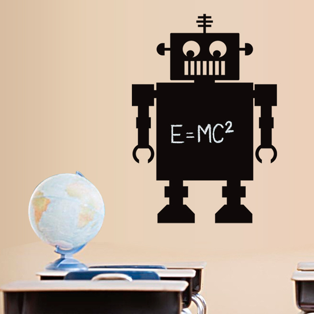 Robot Blackboard Papan Tulis Wall Decal Home Sticker PVC Mural Vinyl Kertas Rumah Dekorasi Wallpaper Ruang Tamu Kamar Tidur Dapur Art Gambar DIY untuk Anak Remaja Remaja Dewasa Anak-Intl