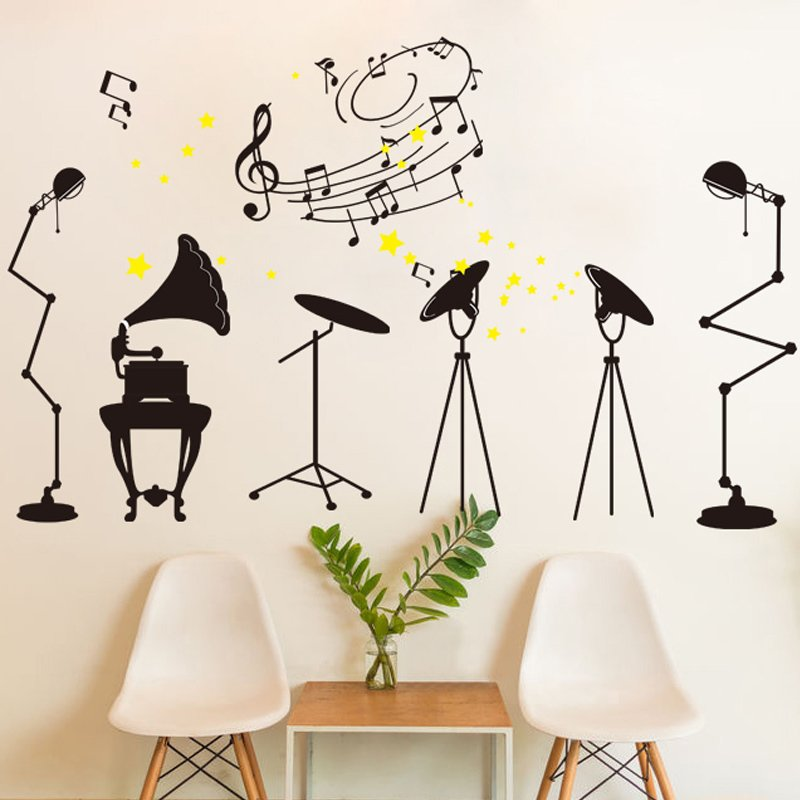 Rock Music Room Vinyl Wall Decal PVC Rumah Sticker Rumah Dekorasi Kertas WallPaper Ruang Tamu Kamar Tidur Dapur Gambar Seni DIY Murals Girls Boys Kids Nursery Baby Playroom Decor