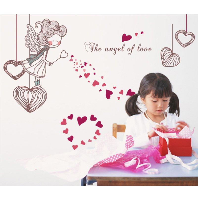 Cinta Romantis Merah Removable Wall Decal PVC Home Sticker Rumah Dekorasi WallPaper Hidup Dinning Kamar Kamar Tidur Dapur Seni Gambar DIY Murals Girls Boys Kids Nursery Baby Playroom Decor