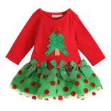 Spesifikasi Rorychen Girls Pohon Natal Panjang Lengan Ikatan Simpul Dress Rorychen Terbaru