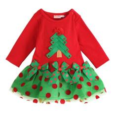 Rorychen Girls Pohon Natal Panjang Lengan Ikatan Simpul Dress Tiongkok Diskon 50