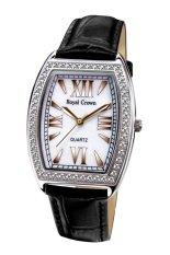 Ongkos Kirim Royal Crown 3635M Jam Tangan Wanita Leather Black White Di Dki Jakarta