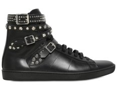 Saint Laurent Studded Belted Hight Top Sneakers 60I-0C9016 - Sepatu Pria - Hitam