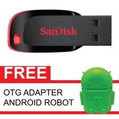 SanDisk Flash Disk Cruzer Blade 16 GB + Gratis OTG Adapter Android Robot Hijau
