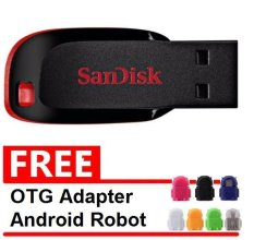 Beli Sandisk Flash Disk Cruzer Blade 16 Gb Gratis Otg Adapter Android Robot Warna Random