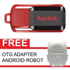 SanDisk Flash Disk Cruzer Switch 16 GB + Gratis OTG Adapter Android Robot Putih
