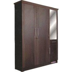 Simplefurniture Lemari Pakaian 3 Pintu Tempat Baju Kayu K 89 - Hitam