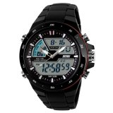 Spesifikasi Skmei 5Atm Tahan Air Unisex Led Digital Analog Dual Time Display Olahraga Wrist Watch Dengan Tanggal Alarm Stopwatch Backlight Karet Band Hitam Merah Dan Harga