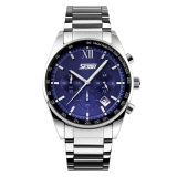 Model Skmei Casual Men Stainless Strap Watch Water Resistant 30M 9096Cs Biru Terbaru