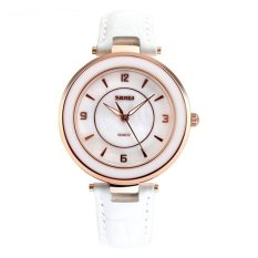 Spek Skmei Fashion Casual Ladies Leather Strap Watch Water Resistant 30M 1059Cl White Skmei