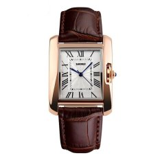 Jual Cepat Skmei Fashion Casual Ladies Leather Strap Watch Water Resistant 30M 1085Cl Coffee