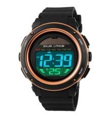 Harga Skmei Solar Power Sport Led Watch Water Resistant 50M Dg1096 Hitam Gold Branded