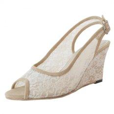 SLIGHT Sepatu Wedges Brukat Lotus Krem