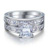 Solid 925 Sterling Silver 2 Pc Pernikahan Ring Set 1 Karat Putri Cut Dibuat Diamond Perhiasan Oem Diskon 50