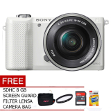 Jual Beli Online Sony Alpha A5000L Kit 16 50Mm 20 1 Mp Putih Gratis Mc 8 Gb Tas Uv Filter Screen Guard