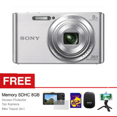 Sony Kamera Pocket Cybershot DSC-W830 - 20.1MP Zeiss - 8x Optical Zoom - Silver + Free Aksessories Kamera