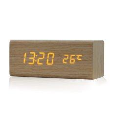 Kontrol Suara Solid Kayu Meja Samping Tempat Tidur Jam Alarm Digital Orange Light
