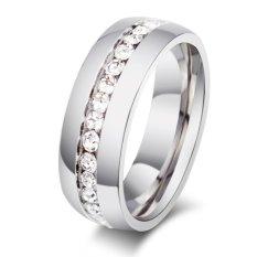 Stainless Steel Pernikahan Band Pertunangan Fashion Perhiasan Wanita dan Pria Cincin dengan Zirkon Pengiriman Gratis, Ukuran 5 Sampai 13