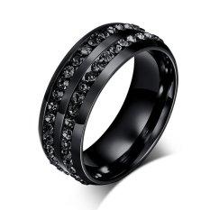 Review Stainless Steel Hitam Cz Pria Cincin Perhiasan Cincin Untuk Pria Oem