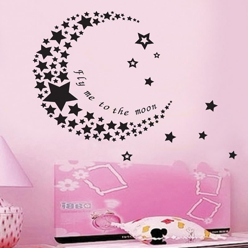 Stars Bulan Wall Decal PVC Rumah Sticker Rumah Vinyl Dekorasi Kertas WallPaper Ruang Tamu Kamar Tidur Dapur Art Picture DIY Murals Girls Boys Kids Nursery Baby Playroom Decor-Intl