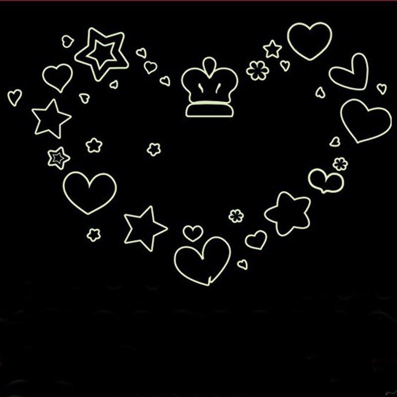 Bintang Cerita Heart Shape Night Lighting Wall Decal PVC Rumah Sticker Rumah Vinyl Dekorasi Kertas WallPaper Ruang Tamu Kamar Tidur Dapur Gambar Seni DIY Murals Girls Boys Kids Nursery Baby Playroom Decor