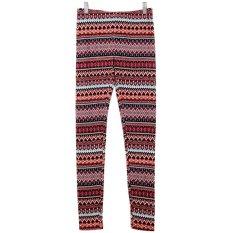 Stock Online Celana Legging Wanita Motif Printed Maroon Kubik