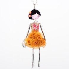 Sunshine Bonsny Bahasa Perancis Paris Boneka Kalung Gaun Bunga Rantai Panjang Paduan Doll Pendant Fashion Perhiasan untuk Wanita 2015 Berita Aksesoris
