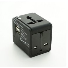 Promo Super Power Universal Adaptor Travel Adapter With Dual Usb Port Hitam Di Indonesia