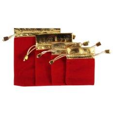 Sworld Grace Ornamen Pouch Cincin Anting Kalung Gelang Jam Velvet Tas Serut 4 Pcs (merah dan Emas)