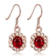 Sworld Putih Anting Berlapis Emas Asli Hot Gaya Dekoratif Pola Perhiasan (Merah)