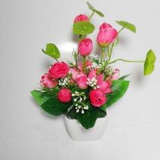 Tanaman Rangkaian Bucket Buket Bunga Pohon Plastik Artificial Artifisial Sintetis Pot Vas Melamin Hiasan Mawar Pink Terbaru