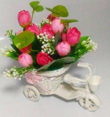 Dapatkan Segera Tanaman Rangkaian Bucket Buket Bunga Mawar Pohon Plastik Artificial Artifisial Sintetis Pot Vas Rotan Hiasan Sepeda Pink