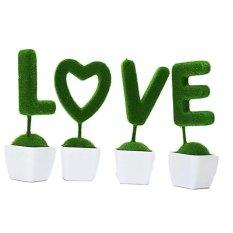 Tanaman Rangkaian Bucket Buket Bunga Pohon Plastik Artificial Artifisial Sintetis Pot Vas Rotan Hiasan - Set Love