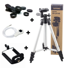 Tefeng Tripod TF3110A + Clip Lens Universal + Remote Shutter + Holder U - Paket photo