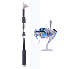 Teleskopik Tongkat Pancing Joran Pancing Perjalanan Saltwater Pintal Joran Pancing S 2.7 M + Rocker Reel Fishing Spool Vessel Fish Reel Rod Sea Pintal Roda Line Gear Fb4000 (biru)