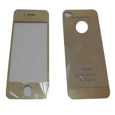 Tempered Glass 3D 2in1 For iPhone 4/ Iphone4/ iPhone 4G/ iPhone 4S Diamond Colour Screen Protection - Gold