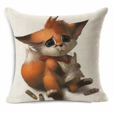 Tebal Cotton Linen 45*45 Cm Dekoratif Bantal Cover Melempar PillowCar Sofa Case Fashion Kartun Fox Menggambar Gambar Tinggi Kualitas-Intl