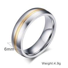 Harga Titanium Steel Berlapis Emas Klasik Pertunangan Pria Ring Jewelry Baru Murah
