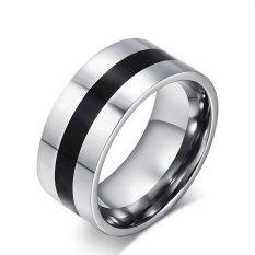 Beli Barang Halus Baja Titanium Modis Ringkas Cincin Perhiasan Untuk Wanita Dan Pria Online