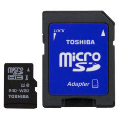 Toshiba MicroSDHC UHS-I Class 10 (30MB/s) 32GB withSD Card Adapter - SD-C032UHS1 BL5A - Hitam