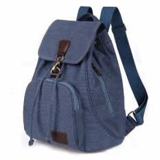 TR5 Tas Ransel Backpack Wanita Kanvas slingbag sekolah slingbag cewek - Blue