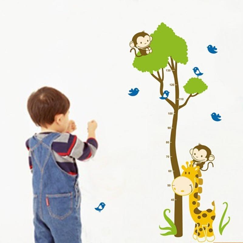 Pohon Monyet Burung Hewan Tinggi Pengukuran Wall Decal PVC Rumah Sticker Rumah Vinyl Dekorasi Kertas WallPaper Ruang Tamu Kamar Tidur Dapur Gambar Seni DIY Murals Girls Boys Kids Nursery Baby Playroom Decor-Intl