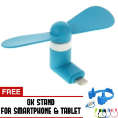Trend's Kipas Angin Portable Iphone 5/6/6 plus/ipad air - Mini USB Fan - Biru + Gratis OK Stand