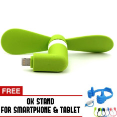 Trend's Kipas Angin Portable Iphone 5/6/6 Plus/iPad Air - Mini USB Fan - Hijau + Gratis OK Stand