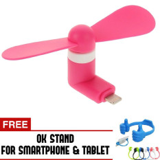 Trend's Kipas Angin Portable Iphone 5/6/6 Plus/iPad Air - Mini USB Fan - Pink + Gratis OK Stand